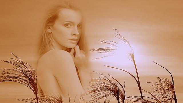 dívka s trávou