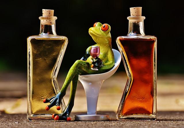 žába s alkoholem