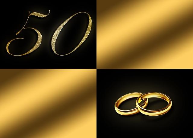 svatební oznámení, které se vztahuje ke zlaté svatbě
