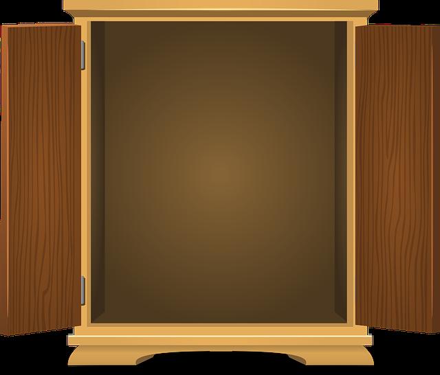 kreslený obrázek – skříň otevřená dokořán